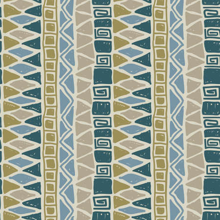 Seamless pattern of doodle painting vector elements. Primitive ethnic decoration for fabric design. Cute african wallpaper.