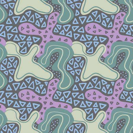 Randomly drawn seamless pattern, abstract painting wallpaper design. Primitive ornament textile template.