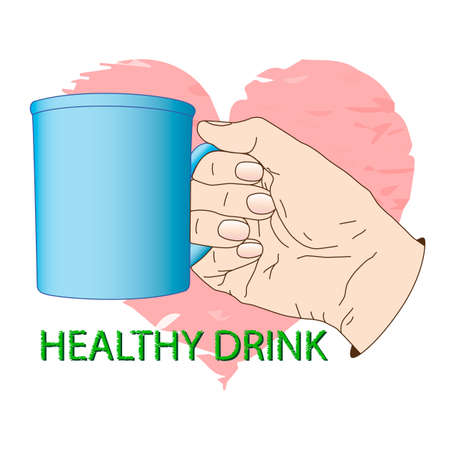 Cup in hand. Poster about healthy drink. Vector illustration, icon, element for design or a fashion print.