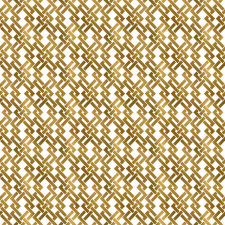 Abstract repeatable background of golden twisted strips. Swatch of gold plexus of bands. Modern seamless pattern.