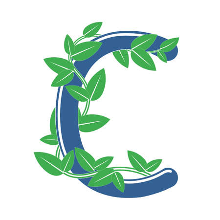 Letter C in eco style with a branch and leaves. Template element for design