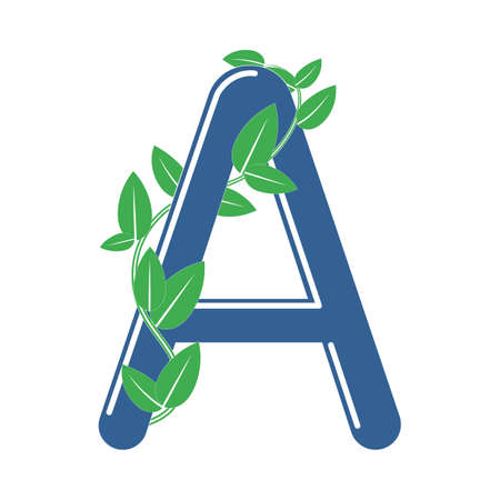 Letter A in eco style with a branch and leaves. Template element for design