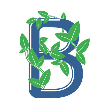 Letter B in eco style with a branch and leaves. Template element for design