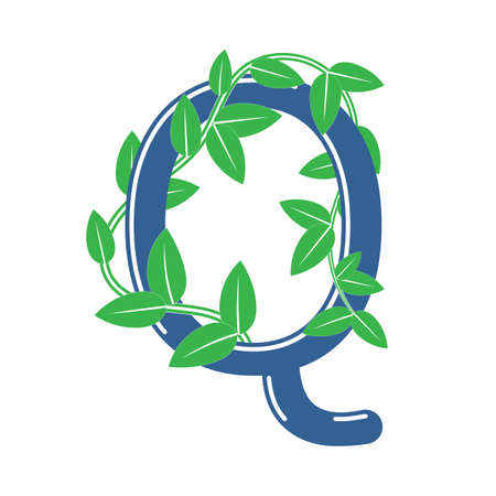 Letter Q in floral style with a branch and leaves. Template element for design, creative monogram.