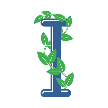 Letter I in floral style with a branch and leaves. Template element for design