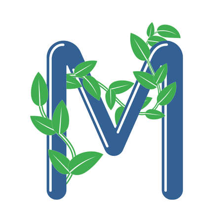 Letter M in floral style with a branch and leaves. Template element for design