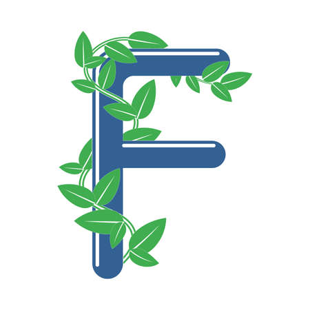 Letter F in floral style with a branch and leaves. Template element for design
