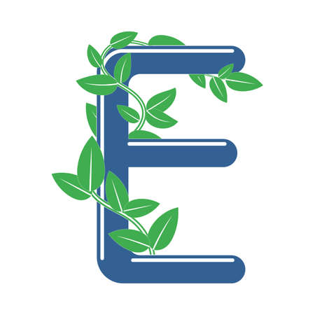 Letter E in floral style with a branch and leaves. Template element for design 矢量图像