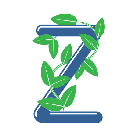 Letter Z in floral style with a branch and leaves. Template element for design, creative monogram.