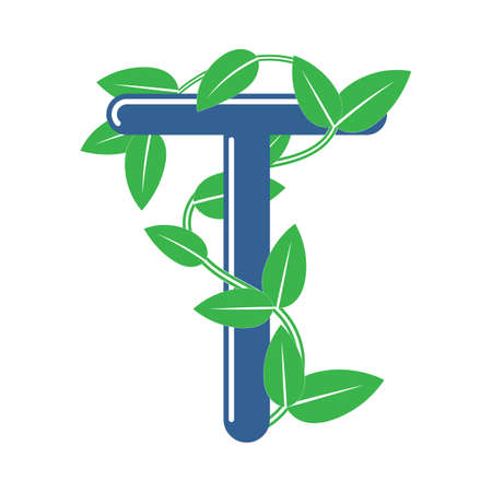 Letter T in floral style with a branch and leaves. Template element for design, creative monogram.