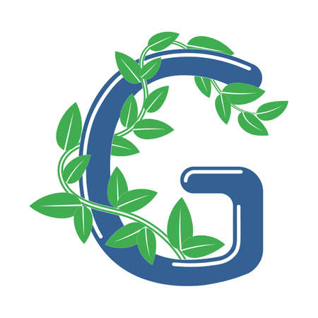Letter G in floral style with a branch and leaves. Template element for design