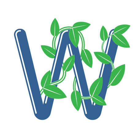 Letter W in floral style with a branch and leaves. Template element for design, creative monogram.