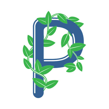 Letter P in floral style with a branch and leaves. Template element for design, creative monogram.