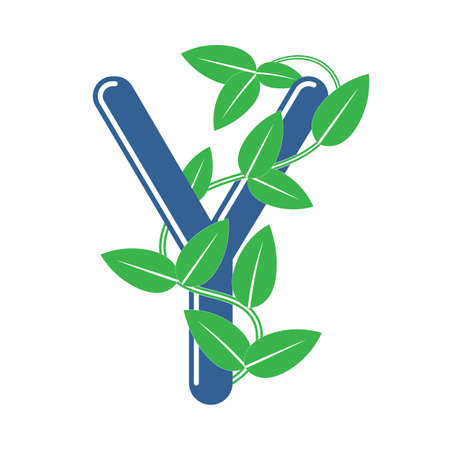 Letter Y in floral style with a branch and leaves. Template element for design, creative monogram.