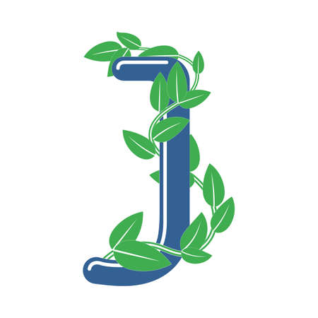 Letter J in floral style with a branch and leaves. Template element for design
