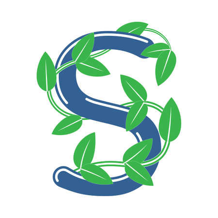 Letter S in floral style with a branch and leaves. Template element for design, creative monogram. 矢量图像