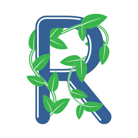 Letter R in floral style with a branch and leaves. Template element for design, creative monogram.