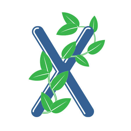 Letter X in floral style with a branch and leaves. Template element for design, creative monogram.