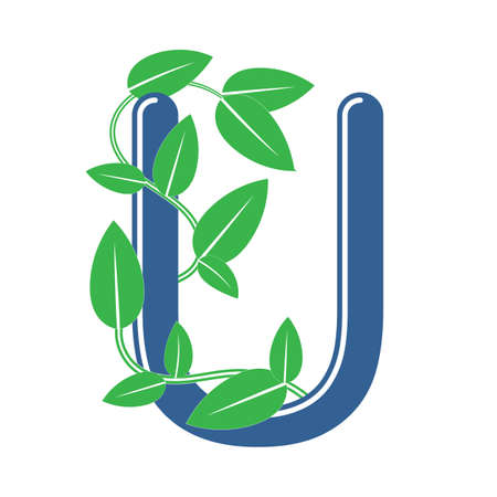Letter U in floral style with a branch and leaves. Template element for design, creative monogram.