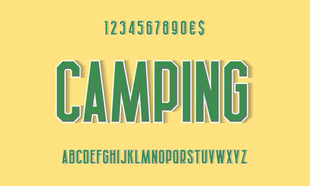 Camping green alphabet and numbers with white outline and shadow. Urban volumetric display font. Vector isolated english alphabet.