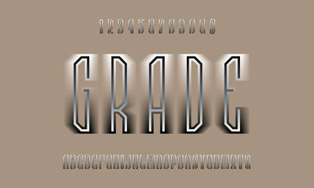 Grade layered display font. Black white gradient letters, numbers and currency signs. Isolated english alphabet. Vector lettering.