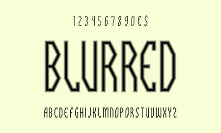 Blurred display font. Black angular letters, numbers and currency signs. Isolated english alphabet. Vector lettering. 矢量图像