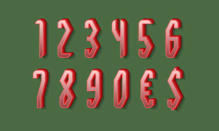 Stylish red 3d numbers and currency signs with shadow. Volumetric display font. 矢量图像