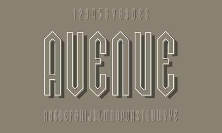 Avenue alphabet and numbers with white outline and gray shadow. Urban display font. Vector isolated english alphabet.