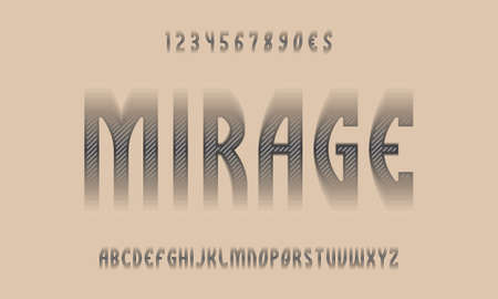Mirage alphabet and numbers with diagonal stripes and disappearing edges. Urban display font. Vector isolated english alphabet.