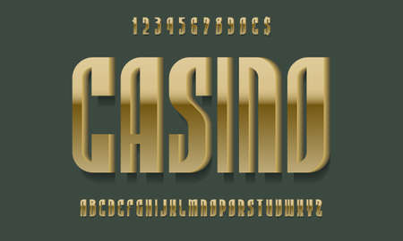 Casino alphabet with numbers of golden 3d symbols with shadow. Luxurious display font. Vector isolated english alphabet.