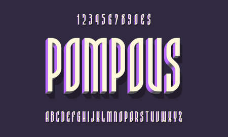 Pompous alphabet with numbers of white purple 3d symbols with shadow. Volumetric display font. Vector isolated english alphabet. 矢量图像