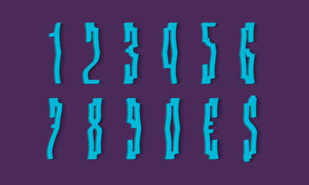 Crooked blue 3d numbers and currency signs with shadow. Volumetric display font.