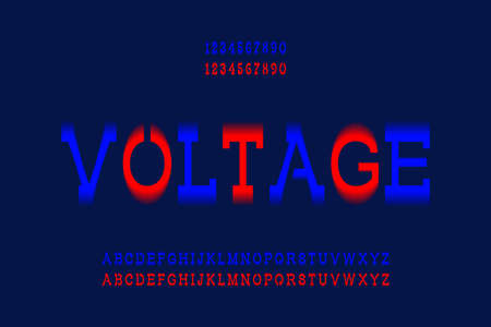 Voltage letters and numbers. Blue and red electric vibrant font. Vector isolated english alphabet.