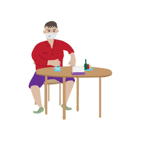 Cartoon man in face mask sits at table in cafe. He is going to drink coffee.