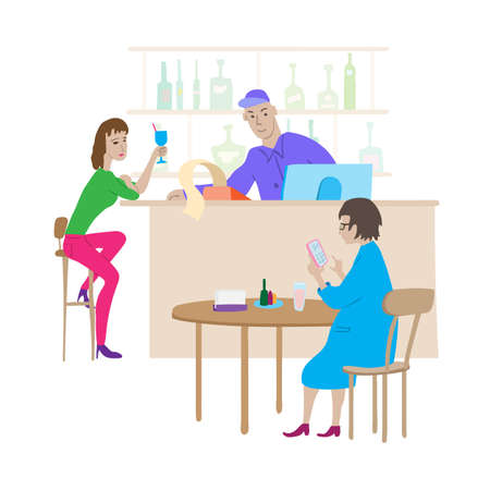 Cartoon cafe scene. Young woman drinks cocktail in high chair, barista behind the bar, woman sits at table and uses calculator in her phone.