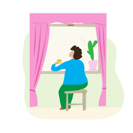 Woman sits on a chair by the window and drinks tea. Cartoon scene tea party at home alone. Elderly lady looks out the window. 矢量图像