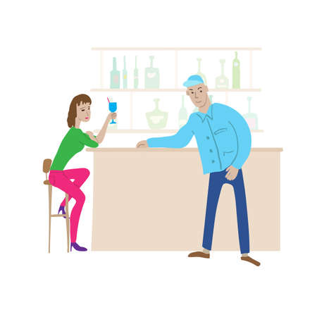 Cartoon bar scene. Young woman drinks cocktail in high chair, nearby stands a young guy leaning on bar counter.
