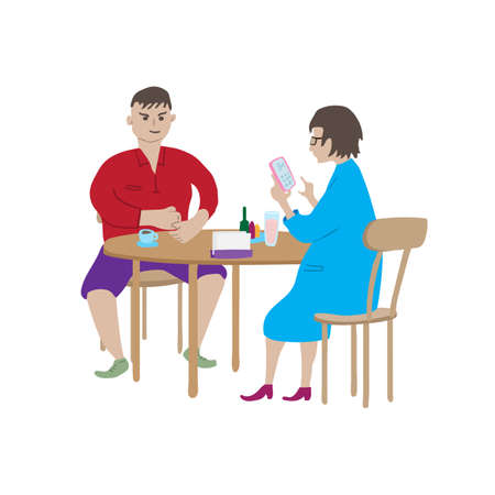 Cartoon man and woman are sitting at table in cafe. Guy with cup of coffee. Lady with glass of soda and smartphone. 矢量图像