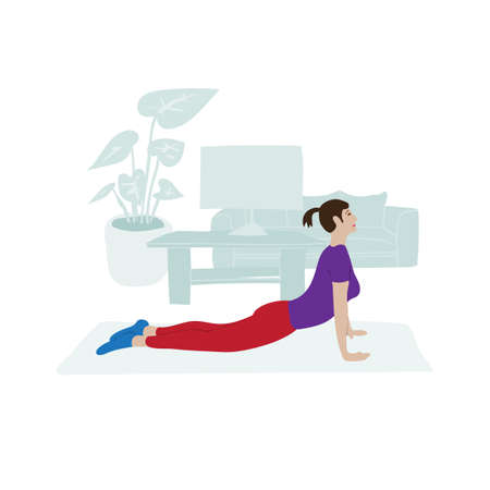 Young girl doing physical exercise at home. Vector illustration about modern lifestyle. 矢量图像