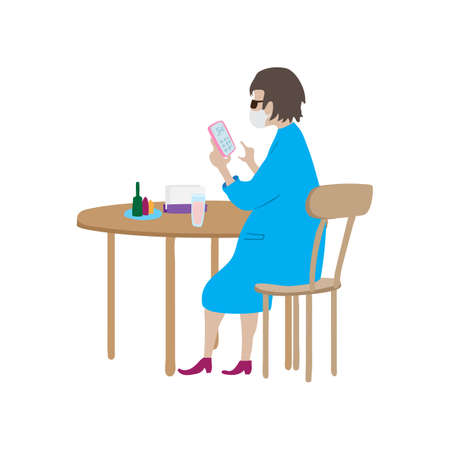 Cartoon woman in face mask sits at table in cafe. Restaurant visitor uses calculator in her phone. 矢量图像