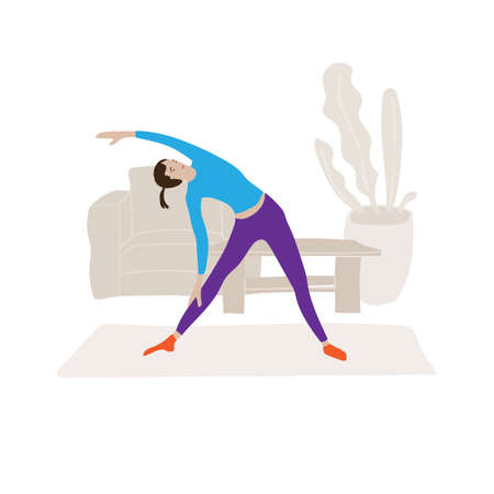 Young girl doing yoga at home. Vector illustration about modern lifestyle. Cartoon physical exercise scene in apartment.