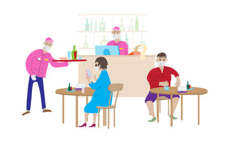 Reopening Cafe during the pandemic. Cartoon scene in cafe, bartender, waiter and visitors in medical masks. Tables, chairs and a bar counter with drinks. Vector illustration.