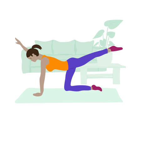 Young girl is engaged in Pilates at home. Vector illustration about modern lifestyle.