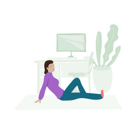 Young girl freelancer does physical exercise during work break. Cartoon scene while working at home. Vector illustration about modern lifestyle. 矢量图像