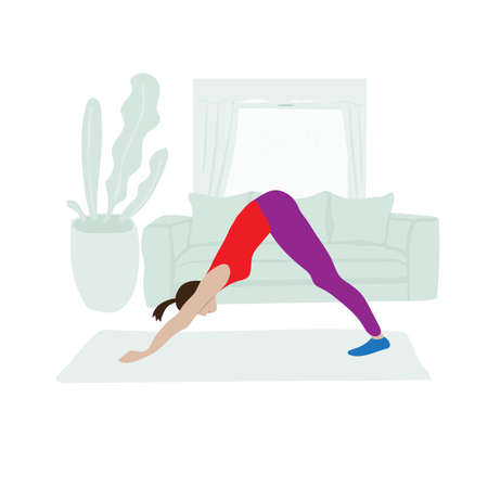 Young girl doing Pilates at home. Vector illustration about modern lifestyle. Cartoon sports scene in apartment.