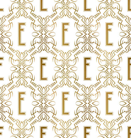 Golden initial seamless pattern with E letter. Heraldic vintage decorative wallpaper, fabric print or wrapping. 矢量图像