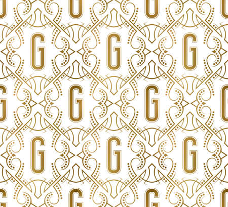 Golden initial seamless pattern with G letter. Heraldic vintage decorative wallpaper, fabric print or wrapping. 矢量图像
