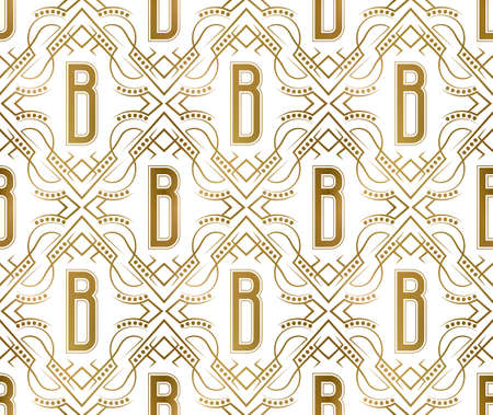 Golden initial seamless pattern with B letter. Heraldic vintage decorative wallpaper, fabric print or wrapping. 矢量图像