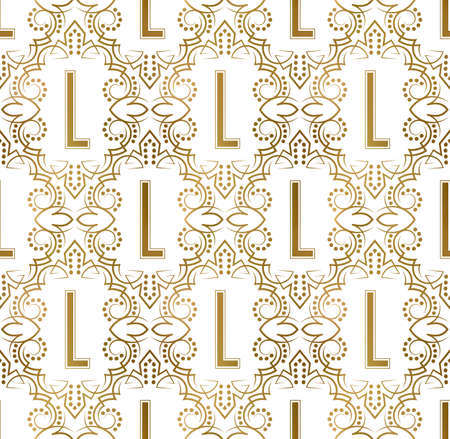 Golden initial seamless pattern with L letter. Heraldic vintage decorative wallpaper, fabric print or wrapping.