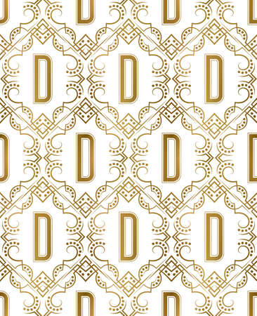 Golden initial seamless pattern with D letter. Heraldic vintage decorative wallpaper, fabric print or wrapping. 矢量图像